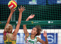 Martina Jakob (HIT Holidays Team) vs Ursa Podlesnik  (SPORT Caffee SKK Team) at qualifications for 14th National Championship of Slovenia in Beach Volleyball and also 4th tournament of series TUSMOBIL LG presented by Nestea, on July 25, 2008, in Kranj, Slovenija. (Photo by Vid Ponikvar / Sportal Images)/ Sportida)