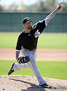 GLENDALE, ARIZONA - FEBRUARY 25:  JJohn Danks #50 of the Chicago White Sox pitches during spring training workouts on February 25, 2015 at Camelback Ranch in Glendale Arizona.  (Photo by Ron Vesely)    Subject:  John Danks