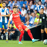 BARCELONA, SPAIN - August 18:  Munir El Haddadi #11 of Sevilla in action during the Espanyol V  Sevilla FC, La Liga regular season match at RCDE Stadium on August 18th 2019 in Barcelona, Spain. (Photo by Tim Clayton/Corbis via Getty Images)