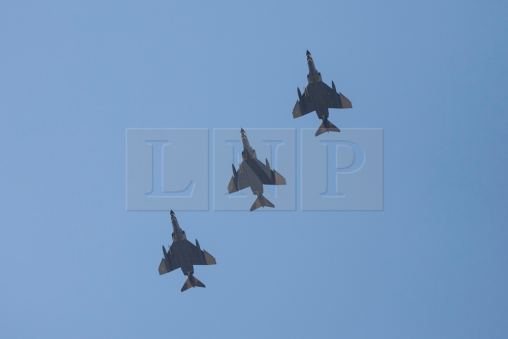 """© licensed to London News Pictures. London, UK 28/08/2011. Three Turkish Fighter Jets on a test flight above the city of Eskisehir on 28/08/11 for their part in Victory Day celebrations. Today the Syrian military has said it shot down a F-4 Phantom Turkish plane """"flying in airspace over Syrian waters"""". Two crew members are being searched over Mediterranean sea. Photo credit: Tolga Akmen/LNP"""