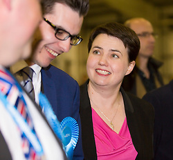 Scottish Parliament Election 2016 Royal Highland Centre Ingliston Edinburgh 05 May 2016; Ruth Davidson (Scottish Conservative leader) smiles at a member of her campaign staff as she arrives during the Scottish Parliament Election 2016, Royal Highland Centre, Ingliston Edinburgh.<br /> <br /> (c) Chris McCluskie | Edinburgh Elite media