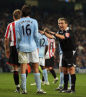 Photo: Paul Thomas/Sportsbeat Images.<br /> Manchester City v Sunderland. The FA Barclays Premiership. 05/11/2007.<br /> <br /> Referee Alex Wiley has words to City's Vedran Corluka (16).