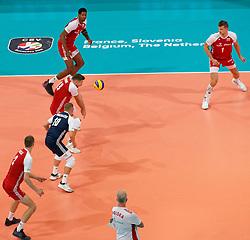 21-09-2019 NED: EC Volleyball 2019 Poland - Spain, Apeldoorn<br /> 1/8 final EC Volleyball / Team Poland, Wilfredo Leon Venero #9 of Poland, Michał Kubiak #13 of Poland