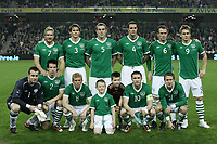 Football - Euro 2012 Qualifying - Republic of Ireland vs. Russia<br /> Ireland team line up at the AVIVA Stadium, Dublin<br /> Back row (L-R) Liam Lawrence, Kevin Kilbane, Richard Dunne, John O'Shea, Glenn Whelan, Kevin Doyle<br /> Front row (L-R) Shay Given, Sean St Ledger, Paul Green, Robbie Keane (capt), Aiden McGeady