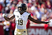 FAYETTEVILLE, AR - OCTOBER 27:  Chris Pierce #19 of the Vanderbilt Commodores celebrates after a big play during a game against the Arkansas Razorbacks at Razorback Stadium on October 27, 2018 in Fayetteville, Arkansas. The Commodores defeated the Razorbacks 45-31.  (Photo by Wesley Hitt/Getty Images) *** Local Caption *** Chris Pierce