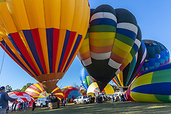 October 21, 2018 - Statesville, North Carolina, United States of America - Fans enjoy the hot air balloon launch at the Carolina BalloonFest 2018 at Statesville Regional Airport in Statesville, NC. (Credit Image: © Walter G Arce Sr Asp Inc/ASP via ZUMA Wire)