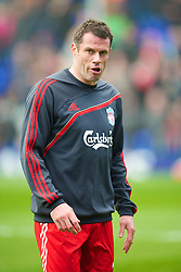 BIRMINGHAM, ENGLAND - Sunday, April 4, 2010: Liverpool's Jamie Carragher warms-up before the Premiership match against Birmingham City at St Andrews. (Photo by David Rawcliffe/Propaganda)