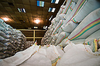 Coffee parchment in a warehouse at Nkora Washing Station in Western Rwanda, one of Rwanda's oldest washing stations, waiting to be shipped to a dry-mill in Kigali for processing and export.