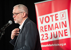 © Licensed to London News Pictures.19/05/2016. Bristol, UK.  JEREMY CORBYN speaks at a Vote Remain Labour campaign at The Station in Silver Street in Bristol city centre in support of the UK remaining in the EU. Photo credit : Simon Chapman/LNP