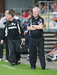 DAGENHAM, ENGLAND - Saturday, August 28, 2010: Tranmere Rovers' Manager Les Parry watches on against Dagenham & Redbridge during the Football League One match at Victoria Road. (Photo by Gareth Davies/Propaganda)