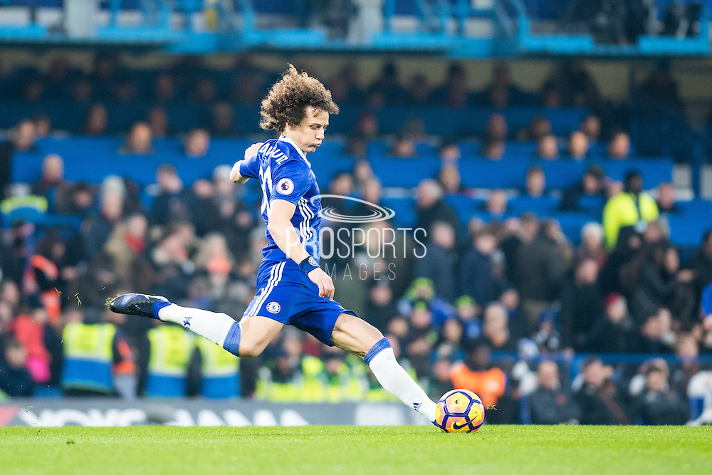 Chelsea defender David Luiz (30) during the Premier League match between Chelsea and Hull City at Stamford Bridge, London, England on 22 January 2017. Photo by Sebastian Frej.