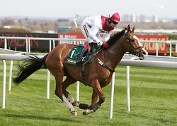 LIVERPOOL, ENGLAND - Friday, April 9, 2010: General Miller ridden by Barry Geraghty passes the winning post on the first lap around as he wins the opening race during the second day of the Grand National Festival at Aintree Racecourse. (Pic by David Rawcliffe/Propaganda)