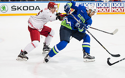Pavel Vorobei of Belarus vs David Rodman of Slovenia during the 2017 IIHF Men's World Championship group B Ice hockey match between National Teams of Slovenia and Belarus, on May 13, 2017 in AccorHotels Arena in Paris, France. Photo by Vid Ponikvar / Sportida