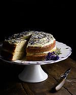 Lemon cake with poppy seeds and cornflowers, Berchin, Scotland