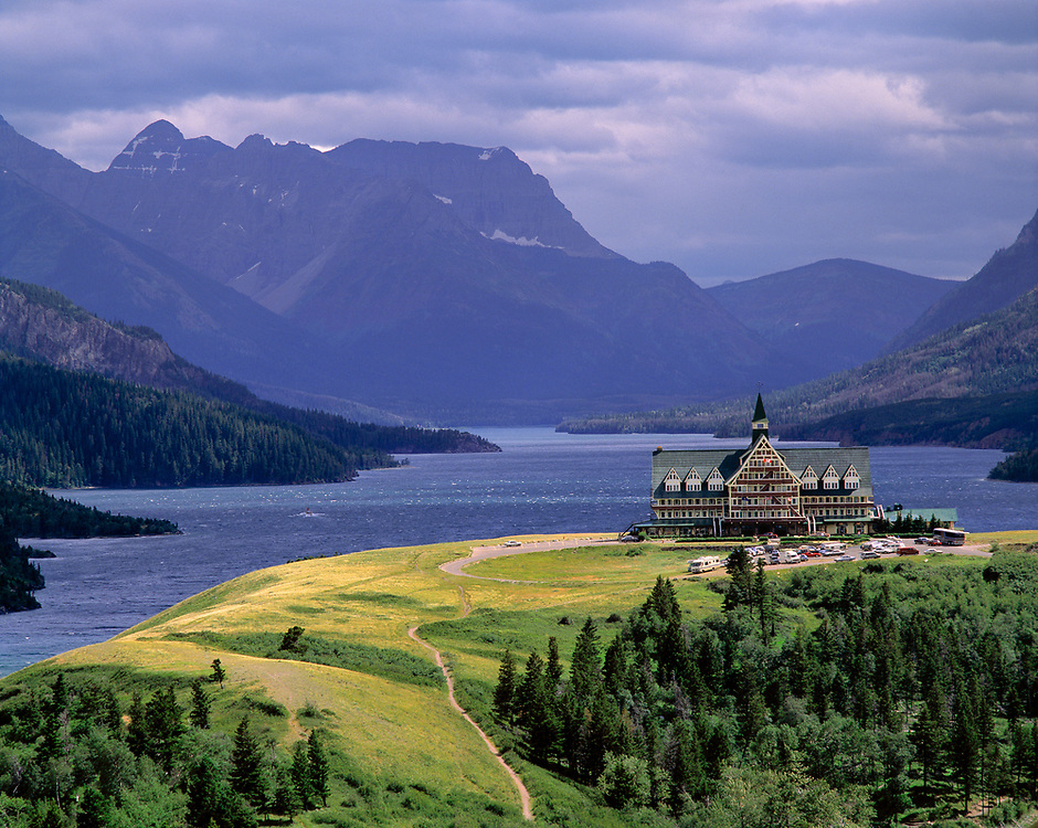 The Prince of Wales Hotel is located on Waterton Lake in Waterton Lakes International Park, Alberta, Canada.