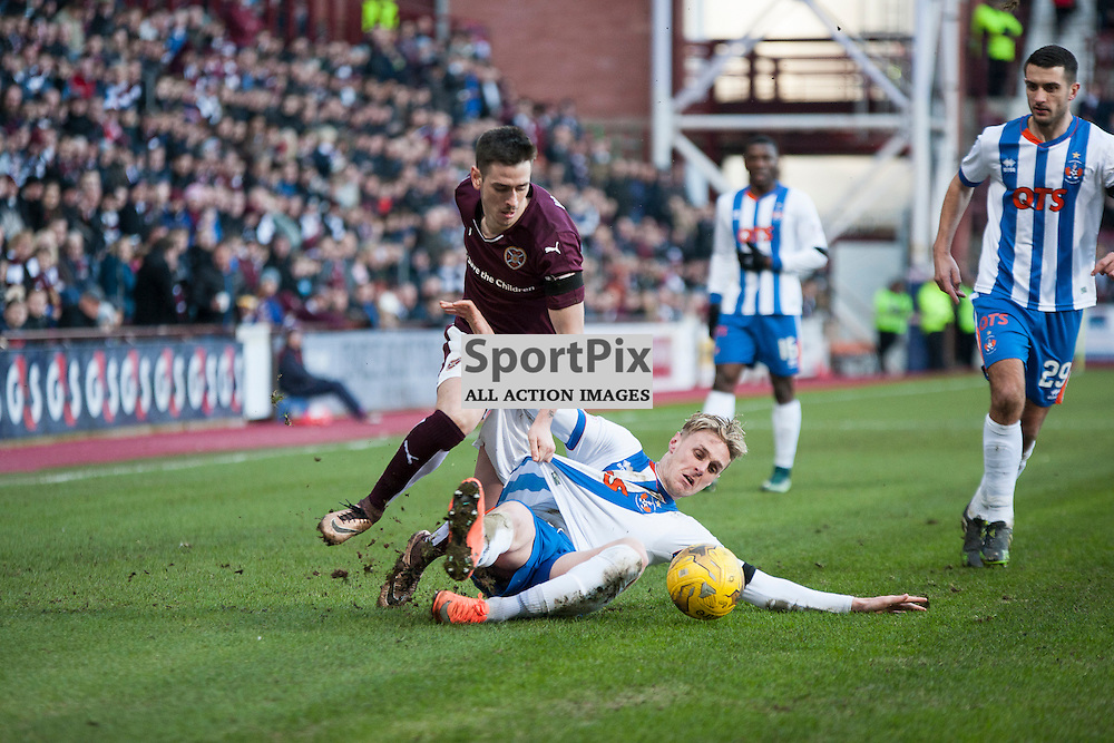 Hearts v Kilmarnock, Scottish Premiership, 27 February 2016, Jamie Walker (Hearts, 7) tussles with former teammate Kevin McHattie (Kilmarnock, 22) during the Hearts v Kilmarnock Scottish Premiership match played at Tynecastle Stadium, © Chris Johnston | SportPix.org.uk