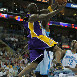 23 December 2008:  Los Angeles Lakers guard Kobe Bryant (24) shoots under the basket past New Orleans Hornets forward James Posey (41) during a 100-87 loss by the New Orleans Hornets to the Los Angeles Lakers at the New Orleans Arena in New Orleans, LA. .