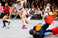 HAMBURG  (Ger) - Semi Final , match 15,  LHMC Laren v Der Club an der Alster (Ger) . Foto: goalkeeper Karlijn Adank (Laren) stops Viktoria Huse (Alster)   . Eurohockey Indoor  Club Cup 2019 Women . WORLDSPORTPICS COPYRIGHT  KOEN SUYK