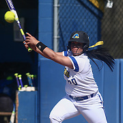 Delaware utility player Mariah Kondravy (20) fouls off a pitch during a Colonial Athletic Association regular season softball game between Delaware and Hofstra Saturday, April 16, 2016, at Delaware softball stadium in Newark, Delaware.