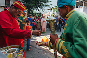 Raja Maheshwar Singh performing rituals before leaving for Dhalpur ground on Kulllu Dusshera. Kullu Dussehra is the Dussehra festival observed in the month of October in Himachal Pradesh state in northern India. It is celebrated in the Dhalpur maidan in the Kullu valley. Dussehra at Kullu commences on the tenth day of the rising moon, i.e. on 'Vijay Dashmi' day itself and continues for seven days. Its history dates back to the 17th century when local King Jagat Singh installed an idol of Raghunath on his throne as a mark of penance. After this, god Raghunath was declared as the ruling deity of the Valley.