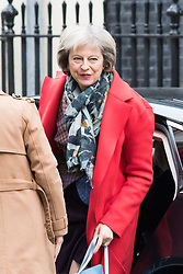 Downing Street, London, March 8th 2016. Home Secretary Theresa May arrives for the weekly UK cabinet meeting at Downing Street. ©Paul Davey<br /> FOR LICENCING CONTACT: Paul Davey +44 (0) 7966 016 296 paul@pauldaveycreative.co.uk