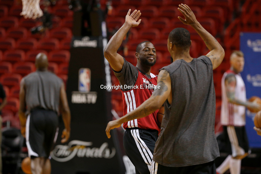 Jun 7, 2013; Miami, FL, USA;  Miami Heat shooting guard Dwyane Wade during practice at the American Airlines Arena. Mandatory Credit: Derick E. Hingle-USA TODAY Sports