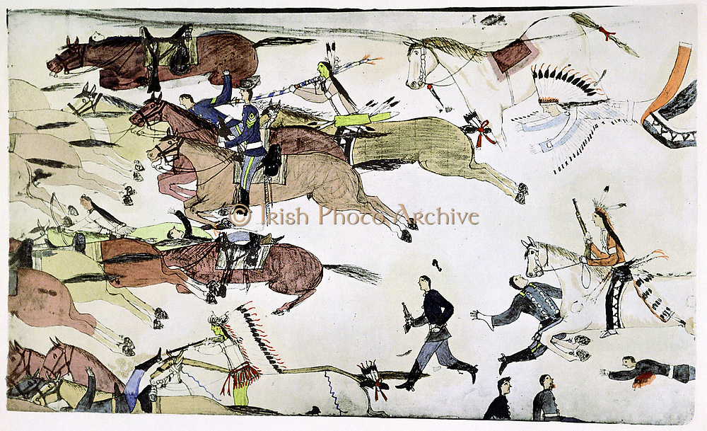 Battle of Little Big Horn 25-26 June 1876.  Retreat of US 7th Cavalry battalions under Major Marcus Reno in face of co.Painting by Amos Bad Heart Buffalo (Sioux) c. 1900