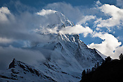 The Matterhorn, Monte Cervino or Mont Cervin, is a mountain in the Pennine Alps on the border between Switzerland and Italy. Its summit is 4,478 meters high, making it one of the highest peaks in the Alps. The iconic, pyramid-shaped Matterhorn peak, 4,478 metres high, 14,692ft.