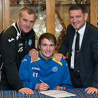 St Johnstone Chairman Steve Brown (right) pictured with Alistair Stevenson Head of Youth Development and Chris Kane whose good performances have earned him a contract extension....20.12.12<br /> Picture by Graeme Hart.<br /> Copyright Perthshire Picture Agency<br /> Tel: 01738 623350  Mobile: 07990 594431