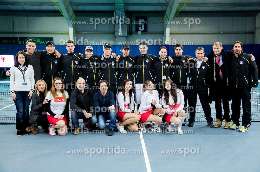Team Slovenia after the 5th match of Davis cup Slovenia vs. Portugal on February 2, 2014 in Kranj, Slovenia. Photo by Vid Ponikvar / Sportida