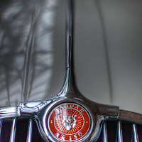 Close up of Classic car. Jaguar XK150