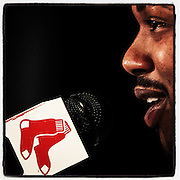 November 25, 2014, Boston, MA:<br /> Newly acquired Boston Red Sox left fielder Hanley Ramirez speaks during a press conference announcing a four-year contract at Fenway Park in Boston, Massachusetts Tuesday, November 25, 2014.<br /> (Photo by Billie Weiss/Boston Red Sox)
