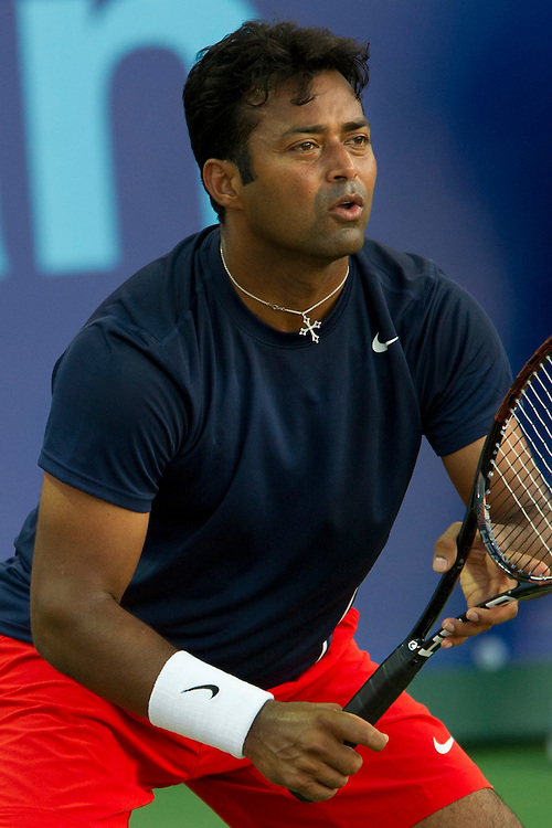 IRVING, TX - JULY 10:  Leander Paes of the Washington Kastles awaits the serve during a mens doubles match against the Texas Wild on July 10, 2013 at the Four Seasons Resort and Club in Irving, Texas.  (Photo by Cooper Neill/Getty Images) *** Local Caption *** Leander Paes
