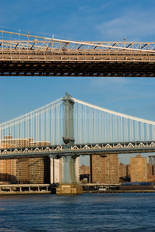 Brooklyn and Manhattan Bridges, New York City. Manhattan Bridge is a the bottom of the photograph, while the Brooklyn Bridge is above.