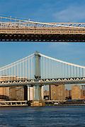 Brooklyn and Manhattan Bridges, New York City. Manhattan Bridge is a the bottom of the photograph, while the Brooklyn Bridge is above.