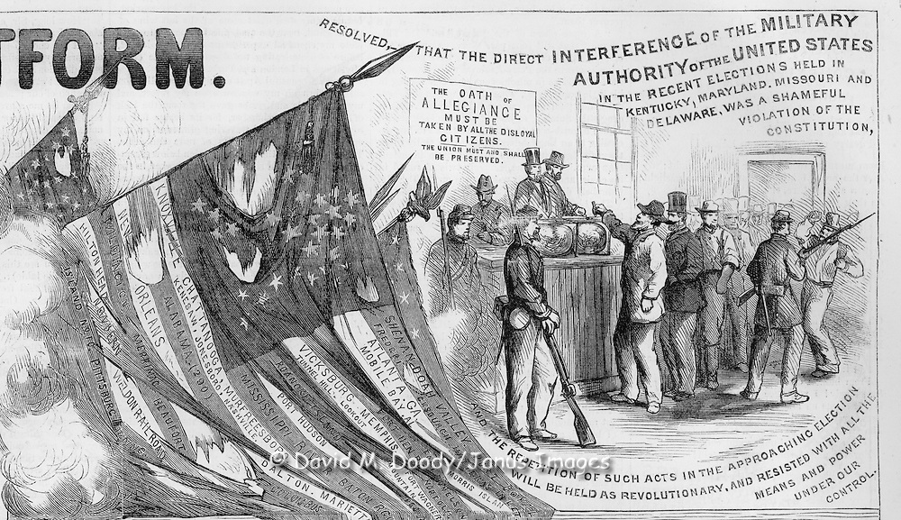 Detail: October 29, 1864 Harper's Weekly Presidential politics attacking the Chicago Democratic Platform emphasizing the evils of slavery and the sacrifices so far in the war.