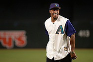 PHOENIX, AZ - APRIL 06:  David Johnson of the Arizona Cardinals smiles after throwing out the ceremonial first pitch for the MLB game between the San Francisco Giants and Arizona Diamondbacks at Chase Field on April 6, 2017 in Phoenix, Arizona.  (Photo by Jennifer Stewart/Getty Images)