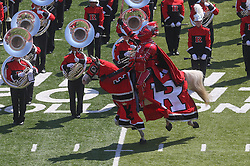 Sep 6, 2014; Piscataway, NJ, USA; The Scarlet Knight rides onto the field before the first half at High Points Solutions Stadium.