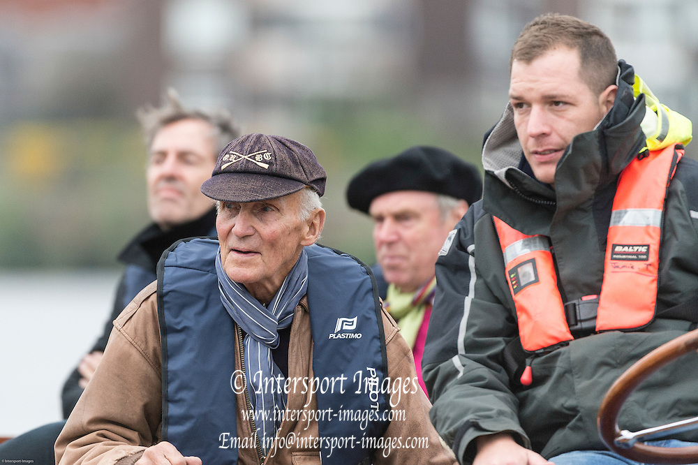 London. UNITED KINGDOM.  160th BNY Mellon Boat Race on the Championship Course, River Thames, Putney/Mortlake.  Thursday  03/04/2014    [Mandatory Credit. Intersport Images]<br /> <br /> Oxford University<br /> <br /> Duncan Spencer with his 1963 Rowing Cap who rowed at stroke in 1963 and 1964 and at 7 in 1965. Winning in 1963 and 1965. Also rowed in the 1964 Rome Olympics. On the Oxford Launch