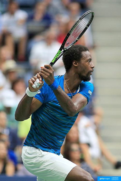 2016 U.S. Open - Day 12  Gael Monfils of France in action  against Novak Djokovic of Serbia in the Men's Singles Semifinal match on Arthur Ashe Stadium on day twelve of the 2016 US Open Tennis Tournament at the USTA Billie Jean King National Tennis Center on September 9, 2016 in Flushing, Queens, New York City.  (Photo by Tim Clayton/Corbis via Getty Images)