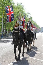 © licensed to London News Pictures. 27/04/2011. London,UK. Royal Wedding Preparations. Captain Edward Oliver of Queen's life guard(front rider) on The Malduring Royal Wedding preparations today (27/04/2011). See Special Instructions. Picture credit should read Grant Falvey/LNP