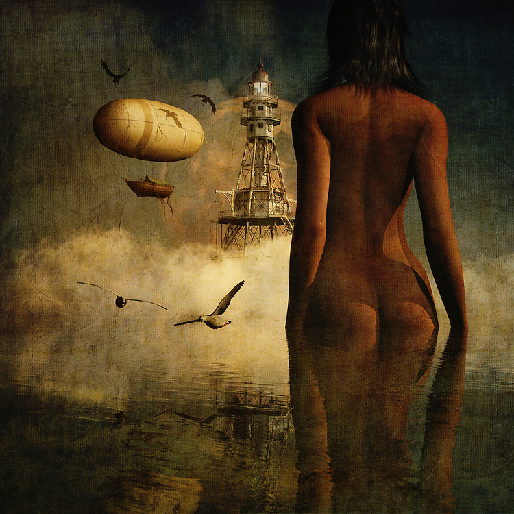 Who is Julia? This is perhaps the most pressing question in this incredible mixed media offering from Jan Keteleer. There is no question that there is a great deal of mystery and intrigue with something like this. We see the nude form of this woman standing before an imposing lighthouse. We do not know what is in the lighthouse. We do not know why the woman is standing there. What do you think is going to happen next? Against a murky backdrop that haunts the soul, we can only speculate. There is so much that you can take from this piece. <br />