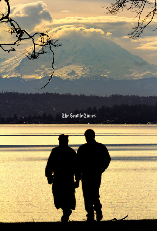 Mt. Rainier looms behind the south end of Lake Washington in this view from Seward Park. <br />