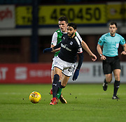 24th January 2018, Dens Park, Dundee, Scottish Premiership, Dundee versus Hibernian; Dundee's Faissal El Bakhtaoui and Hibernian's John McGinn