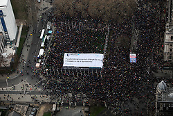 "UK LONDON 23MAR19 - An 800sqm banner of a David Davis quote was carried by thousands of marchers at today's Put It To The People rally in Parliament Square. The moment was caught in stunning footage and photographs captured from a helicopter above.<br /> <br /> The banner read: ""If a democracy cannot change its mind, it ceases to be a democracy.""<br /> <br /> Organised by guerilla poster activists Led By Donkeys, the banner filled most of the square. <br /> <br /> <br /> <br /> jre/Photo by Jiri Rezac/ Led By Donkeys"