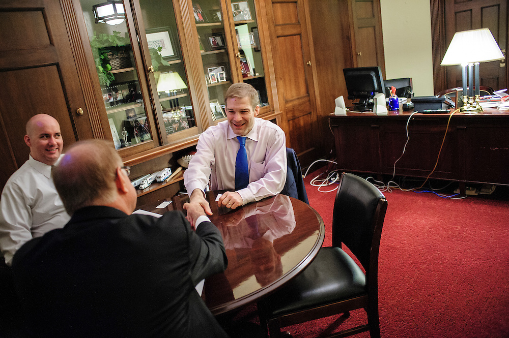 Rep. Jim Jordan (R-OH) meets with constituents in his office on Capitol Hill. (Photo For The Dispatch by Pete Marovich)