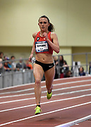 Mar 5, 2017; Albuquerque, NM, USA; Shelby Houlihan wins the women's two miles in 10:19.14 during the USA Indoor Championships at the Albuquerque Convention Center.