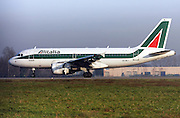 Alitalia Airbus A319. Photographed at Linate airport, Milan, Italy