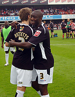 Photo: Kevin Poolman.<br /> Brentford v Swansea City. Coca Cola League 1, Play off Semi Final. 14/05/2006. Kevin Austin and Sam Ricketts celebrate after the game.