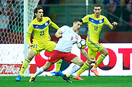 Warsaw, Poland - 2017 September 04: Robert Lewandowski from Poland fights for the ball during soccer match Poland v Kazakhstan - FIFA 2018 World Cup Qualifier at PGE National Stadium on September 04, 2017 in Warsaw, Poland.<br /> <br /> Adam Nurkiewicz declares that he has no rights to the image of people at the photographs of his authorship.<br /> <br /> Picture also available in RAW (NEF) or TIFF format on special request.<br /> <br /> Any editorial, commercial or promotional use requires written permission from the author of image.<br /> <br /> Mandatory credit:<br /> Photo by © Adam Nurkiewicz / Mediasport